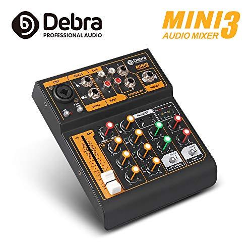 Debra Audio MINI - Mezclador de audio portátil de 4 canales con XLR y potencia fantasma de 48 V para grabación de estudio en casa, DJ, red de transmisión en directo Karaoke