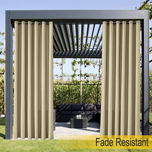 Wasserdicht, Verblassen Widerstandsfähig Terrasse Vorhänge Khaki 213B x 305H cm, Outdoor Vorhang mit Rustproof Ösen für Pergola, Cabana, Covered Patio, Gazebo