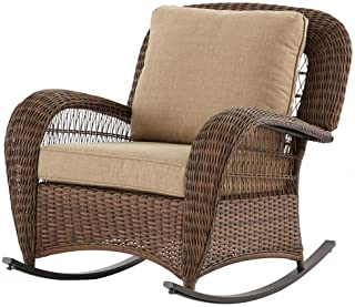 Hampton Bay FRS80812CRW Beacon Park Wicker Outdoor Rocking Chair with Toffee Cushions