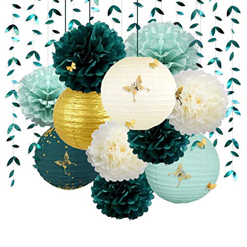 Green and Gold Hanging Tissue Lantern Flowers Pom Pom with 3D Butterflies Leaf Garland Streamer for Spring Summer Botanical Wedding Bridal Baby Shower Birthday Engagement Bachelorette Party Decoration