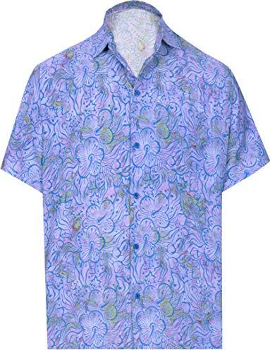 HAPPY BAY botón la Camisa Hawaiana 3D de los Hombres Abajo HD Mangas Cortas Oficina Ciervo Luau Floral Impreso Violeta_AA166 M-Pecho (in cms): 101-111