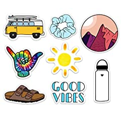 SET INCLUDES 10 CUTE NATURE VSCO GIRL OUTDOOR LAPTOP STICKERS: yellow VW van, blue scrunchie, tie dye shaka, good vibes, sun, explore Hawaiian license plate, white water bottle, save the bees, birkenstock, and mountains. These are the perfect VSCO gi...
