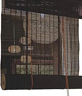 Jcnfa-Roller Shades Black Bamboo Roller Blinds , Roman Roller Blind , Shading Sunscreen , Drawstring Tea Room , Garden, Patio, Gallery (Color : Black, Size : W90cm X H135cm)
