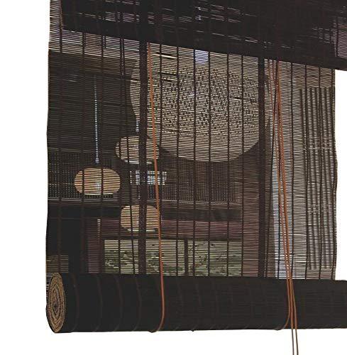 Jcnfa-Roller Blind Zwart Bamboe Rolgordijnen, Roman Roller Blind, Schaduw Zonnebrandcrème, Trekkoord Theekamer, Tuin, Patio, Galerij