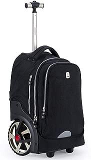 Student Trolley Bag, Big Wheel, 6-12 Years Old, Children's Large-Capacity Travel Bag (Color : Black)