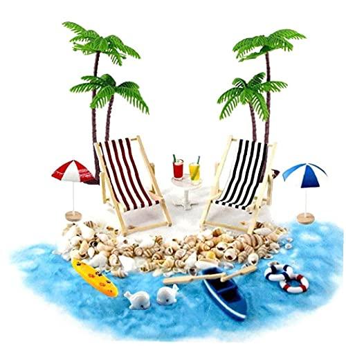 xuew Puppenhaus Zubehör Mini-Strand-Set Dekoration Strand Micro Landschaft mit Deckchairs Sonnenschirmen Palme für den Sommer 18PCS