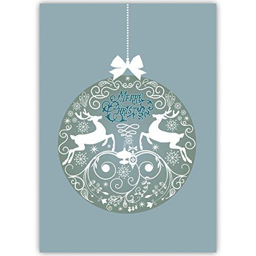 Set van 1 kerstkaarten, mooie kerstgroet met hert, kerstbal, blauw, binnen blanco/wit • als mooie wenskaart voor Kerstmis aan het einde van het jaar voor familie en bedrijf
