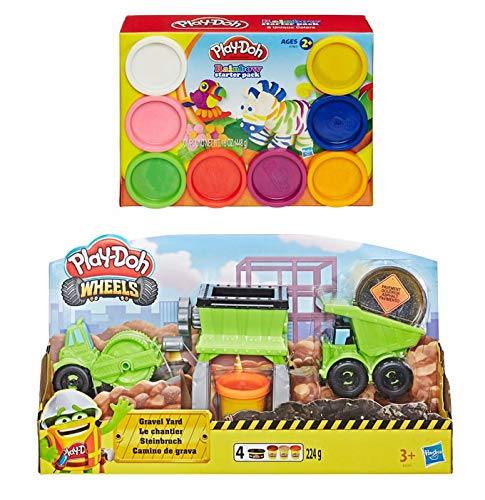 PD Play Doh Wheels Gravel Yard Construction Toy Play Set + Play Doh Rainbow Starter Pack