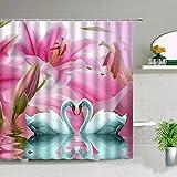 Fmiljiaty Kunstwerk drucken rosa Blume Liebe Herz geformt Schwan Duschvorhänge Tierpaar Badezimmer Dekor Geschenk Badewanne Display mit Haken -180 * 180CM