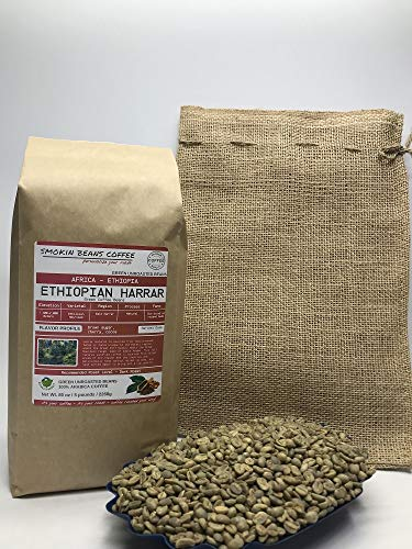 5 Pounds – African - Ethiopia Harrar - Unroasted Arabica Green Coffee Beans – Varietal Ethiopian Heirloom – Drying/Milling Process – Natural/Sun-Dried On Raised Beds – Hand Sorted – Include Burlap Bag