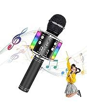Uplayteck Micrófono Karaoke Bluetooth, Microfono Inalámbrico Karaoke, Micrófono Karaoke Portátil con Altavoz y Luces LED, para KTV, Micrófono Wireless Bluetooth Compatibile con PC/iPad/iPhone
