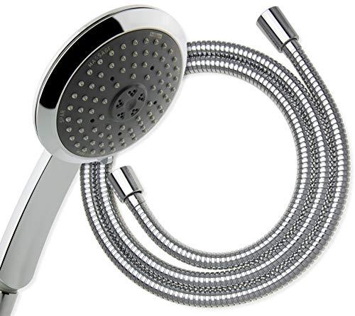 hoffmann Made in Germany Handbrause Kiel mit Schlauch. Die Duschbrause mit 140mm in Chrom und drei Strahlarten wird perfekt vom Brauseschlauch mit 160cm Länge für die Dusche oder Badewanne ergänzt.