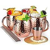 Moscow Mule Becher, Set 4er Kupferbecher Moscow Mule Mug mit 4 Becher, 4 Untersetzer, 4 Trinkhalme, 1 Messbecher in Geschenkbox für Kaltes Getränk, Bier, Gin, Vodka, Cocktails und Wasser Genießen