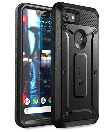 SUPCASE Full-Body Rugged Holster Case for Google Pixel 3 XL, with Built-in Screen Protector for Google Pixel 3 XL 2018 Release, Unicorn Beetle Pro Series - Retail Package (Black)