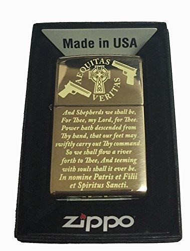 Boondock Saints Prayer Zippo Lighter Brush Gold