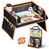 lenbest Car Seat Trays for Kids, Ferris Wheel Travel Tray Bonus 1 Board Pen & Reusable Animal Artboard on Both Sides - Child Snack & Play Activity Tray with 14 Storage Pocket - Car/Stroller/Plane