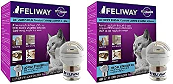 Feliway 2 Pack of Plug-in Calming Diffuser Starter Kits for Cats Contains 1 Diffuser and 1 Refill Per Pack