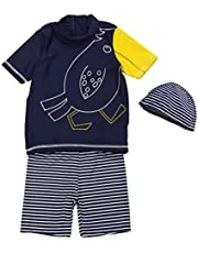 Teddy キッズ 水着 男の子 セパレート 半袖 ハーフパンツ スイムキャップ 3点セット UPF50+ 日焼け対策 kids262