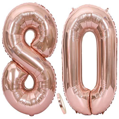 Ouceanwin 2 Luftballons Zahl 80 Rosegold, Riesen Nummer 80 Luftballons Roségold 40