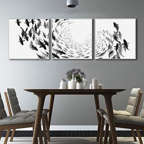GYSS 3 panelen vis wit en zwart kunst muurschilderij schilderij canvas schilden en moderne prints wandschilderijen voor de decoratie van de woonkamer