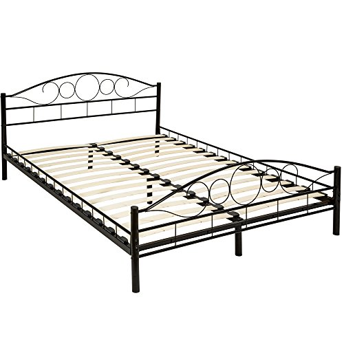TecTake Lit en métal Design Cadre de lit + sommier à Lattes - diverses modèles - (140x200cm, Noir...