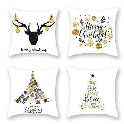 Anyingkai 4pcs Weihnachten Kissenbezug,Weihnachten Dekokissen,Weihnachten Kissen Set,Weihnachten Kissen,Weihnachtskissenbezug 45x45 (Weiß)