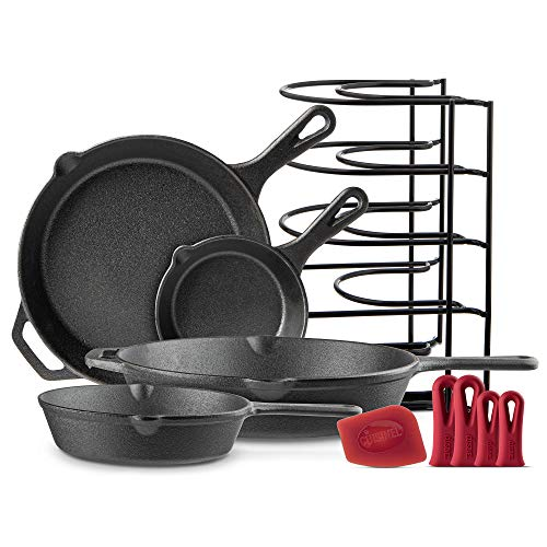 Cast Iron Skillet Set  6quot8quot10quot12quot  PreSeasoned Oven Safe Cookware Kit  Bonus: 4HeatResistant Silicone Holders  Pan Organizer  Scraper  Indoor and Outdoor Use  Grill Stovetop