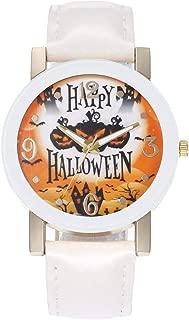 Amosfun Halloween Watch Pumpkin Witch Castle Pattern Happy Halloween Quartz Watch Wrist Watch Gift Watches for UnisexシWhiteシ