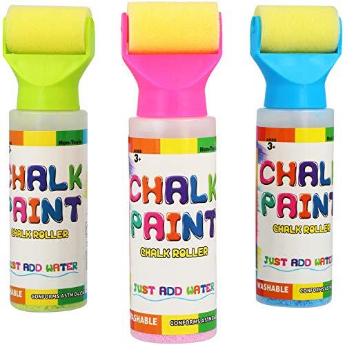 com-four® 3X Kreideroller Kreidemarker zum Malen und Beschriften - Straßenkreide für Kinder - abwaschbar (3 Stück - Kreideroller)