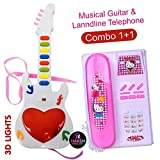 NTG Landline Telephone with Musical Guitar with Sound and 3D Lighting; Learning Toy for Kids (Random Colour) - Pack of 2