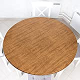 Wood Grain Round Tablecloth Wood Elastic Edge Flannel Backing Tablecover Plastic Tablecloth Protector Waterproof Fitted Oilcloth for Round Table Large Round Fits Table up 40-44 Diameter