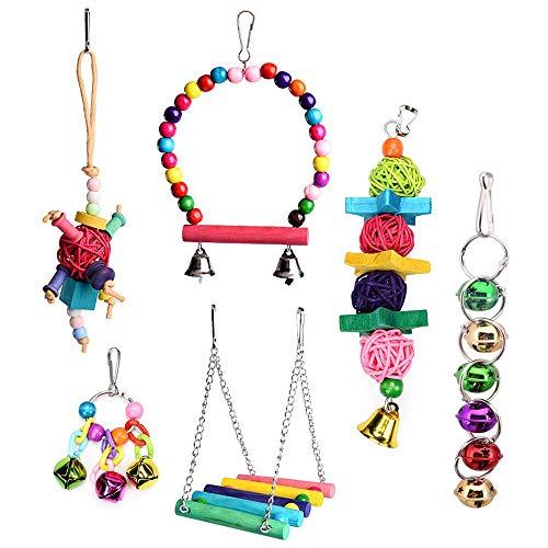 Wivarra Bird Parrot Toys-Bird Hanging Shredding Swing Chew-Birds Ladder Bell Toys For Conure, Parakeets, Mynah, Cockatiel Macow, Coconut Bird, Love Birds