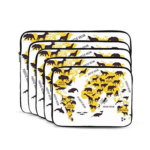 KUUDJIT Cartoon World Map with Animals Silhouettes 12/13/15/17 Inch Laptop Sleeve Bag for MacBook Air 13 15 MacBook Pro Portable Zipper Laptop Bag Tablet Bag,Diving Fabric,Waterproof