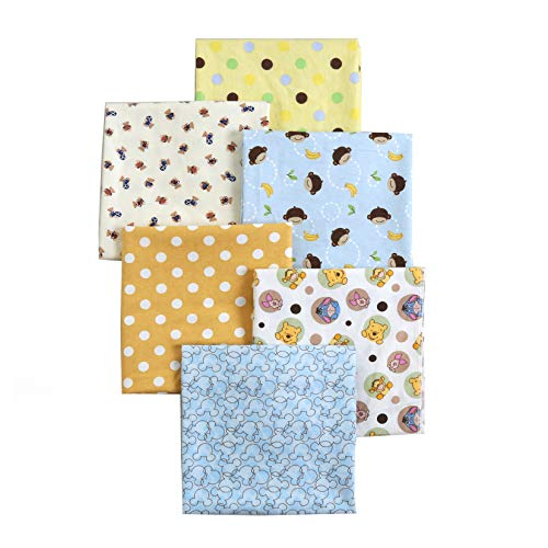 Danica Unisex Baby Cotton Flannel Receiving Blankets, Basic Pattern 6-Pack, One Size 30'' x 38'' (Blue004, 30''x38'')
