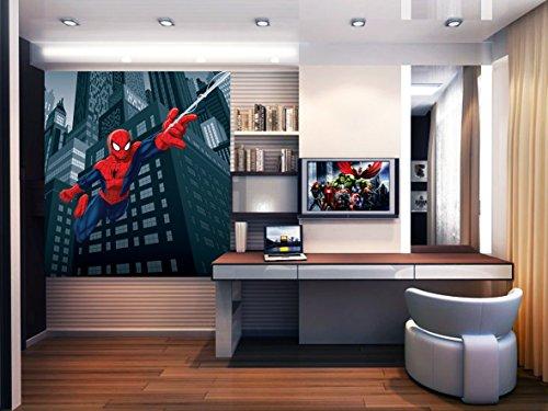 AG Design FTDxl 1921 Spider-Man Marvel, Papier Fototapete Kinderzimmer- 180x202 cm - 2 teile, Papier, multicolor, 0,1 x 180 x 202 cm