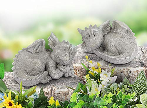 Giftchy Dragon Garden Statues Set of 2  Whimsical Gargoyle Decorations for Outside  Resin Animals Outdoor Statues  Spring Decor for Home  8.5  L