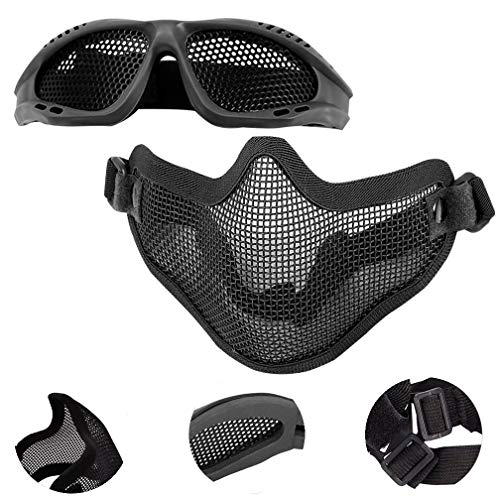 EMAGEREN Gafas de Malla + Máscara Táctica Airsoft Gafas Airsoft Máscara de Malla de Media Cara Plegable Máscara Táctica de Malla Respirable Mascarilla Protectora para Cosplay, Juegos de CS en Vivo