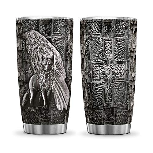 64HYDRO 20oz Printed Viking Celtic Wolf Metal Tumbler Cup with Lid, Double Wall Vacuum Sporty Thermos Insulated Travel Coffee Mug