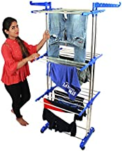 greatbuyz 8026-1 Premium Heavy Duty Cloth Drying Stand/Cloth Dryer Stand, Jumbo - 2 Poll - 3 Layer, Stainless Steel