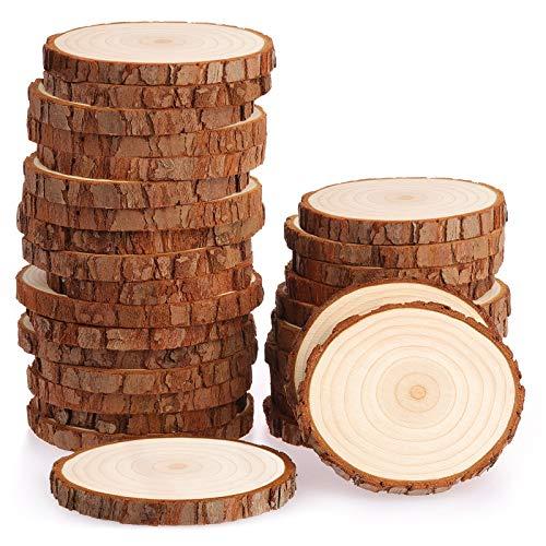Fuyit Rondin de Bois sans Trou Diamètre 7-8cm 30 Pcs Tranches de Bois Naturel Convient pour Decoration Noel Bois, Marque Place Mariage, Pyrograveur Bois