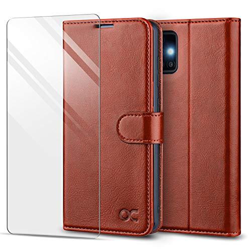 OCASE Hülle für Samsung Galaxy A51 Handyhülle [Panzerglas Schutzfolie] [Premium PU Leder] [Kartenfach] Flip Hülle Cover Schutzhülle Etui kompatibel mit Samsung Galaxy A51 Klapphülle 6,5'' Braun