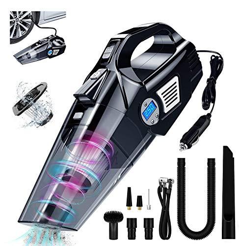 VEEAPE 4 en 1 Aspirador de Mano Multifunción para Coche, inflador de neumáticos Aspirador portátil en seco húmedo de Alto Rendimiento 6KPA con luz LED, DC 12V para neumático de Coche