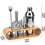 Hochwertiges Cocktailshaker Set, Cocktailmixer Set, 10 Teileig, aus Edelstahl, mit Bambus-Aufbewahrung, inkl. Cocktail-Shaker, Messbecher, Ausgießer, Bar Stößel, Bar Löffel, Eiszange, Öffner, Barmaß - 11