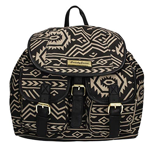 SWANKYSWANS Anna Vintage Aztec Womens Rucksack Backpack Canvas Bag Black