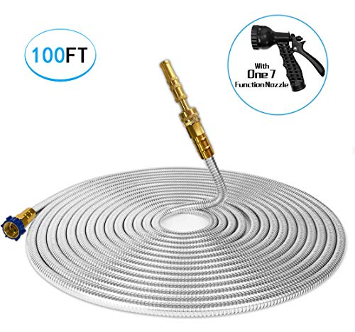 TUNHUI 304 Stainless Steel Garden Hose with Solid Brass Nozzle 100FT Outdoor Hose, 7 Function Spray Gun Solid Metal Fittings Water Hose Flexible Durable Kink Free and Easy to Store