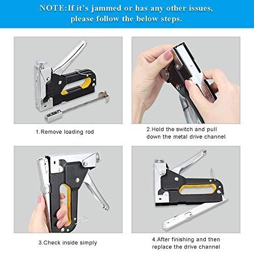 3 in 1 Heavy Duty Staple Gun with Staple Remover, Hand Operated Stainless Steel Stapler Brad Nail Gun, Furniture Stapler, Upholstery Staples, Upholstery Gun, 1050 Staples Attached Photo #2