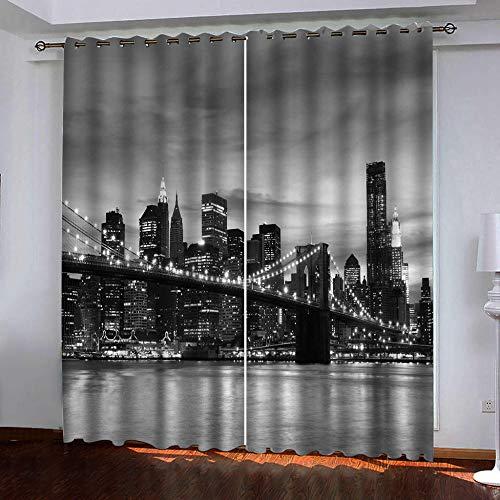 Vorhänge Blickdicht 2 Stück x 168 B x 229cm H Schwarz-Weiß-Brooklyn-Brücke in New York City 3D Verdunklungsgardine mit Ösen für Wohnzimmer Kinderzimmer, Wärmeschutz & Geräuschreduzierung für Zimmer