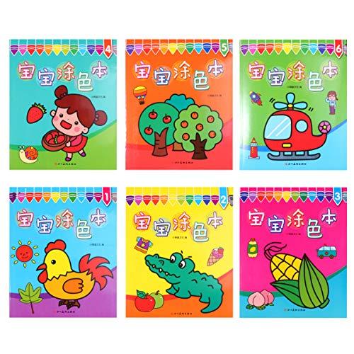 TOYANDONA Juego de Libros para Colorear de 6 Piezas para Niños Figura de Palo Libro para Colorear Libro de Aprendizaje Rápido para Niños Niñas Y Niños