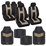 BDK AutoSport Full Set Combo All Protective Seat Covers (2 Front 1 Bench) with Heavy-Duty All-Weather Rubber Floor Mats (4 Mats) for Car Auto Sedan Truck SUV Minivan