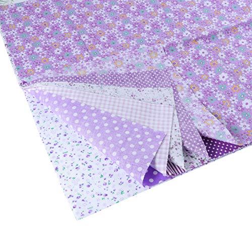 EXCEART 7 hojas de tela de algodón floral cuadros de tela floral tela de acolchado para patchwork costura diy scrapbooking 50x50cm (púrpura)